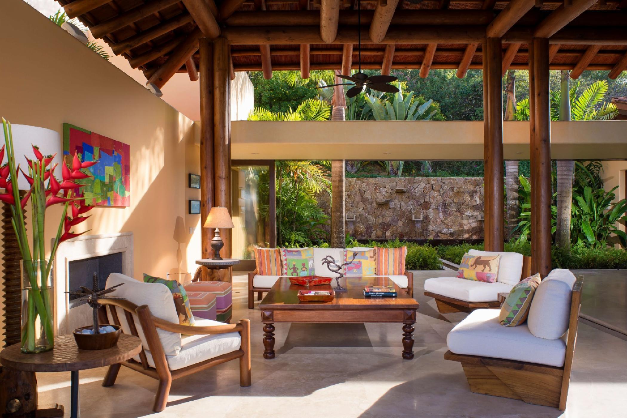 The living room is open to the ocean breezes