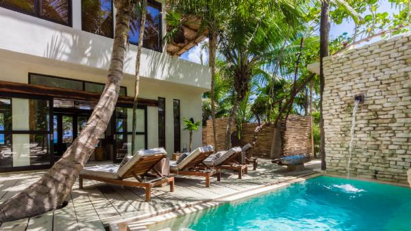 Exclusive Oceanfront Tulum 4 BDR estate; private oceanfront terrace, courtyard pool, rooftop veranda for sea and star gazing