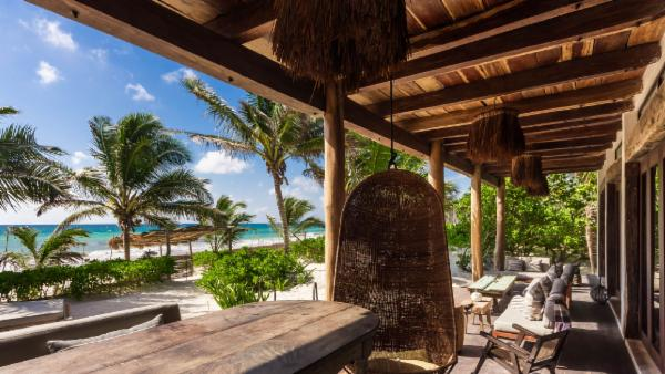 Tulum luxury 9 BDR oceanfront estate; 3 private villas, tropical pools, stunning verandas, steps from beach, perfect for groups
