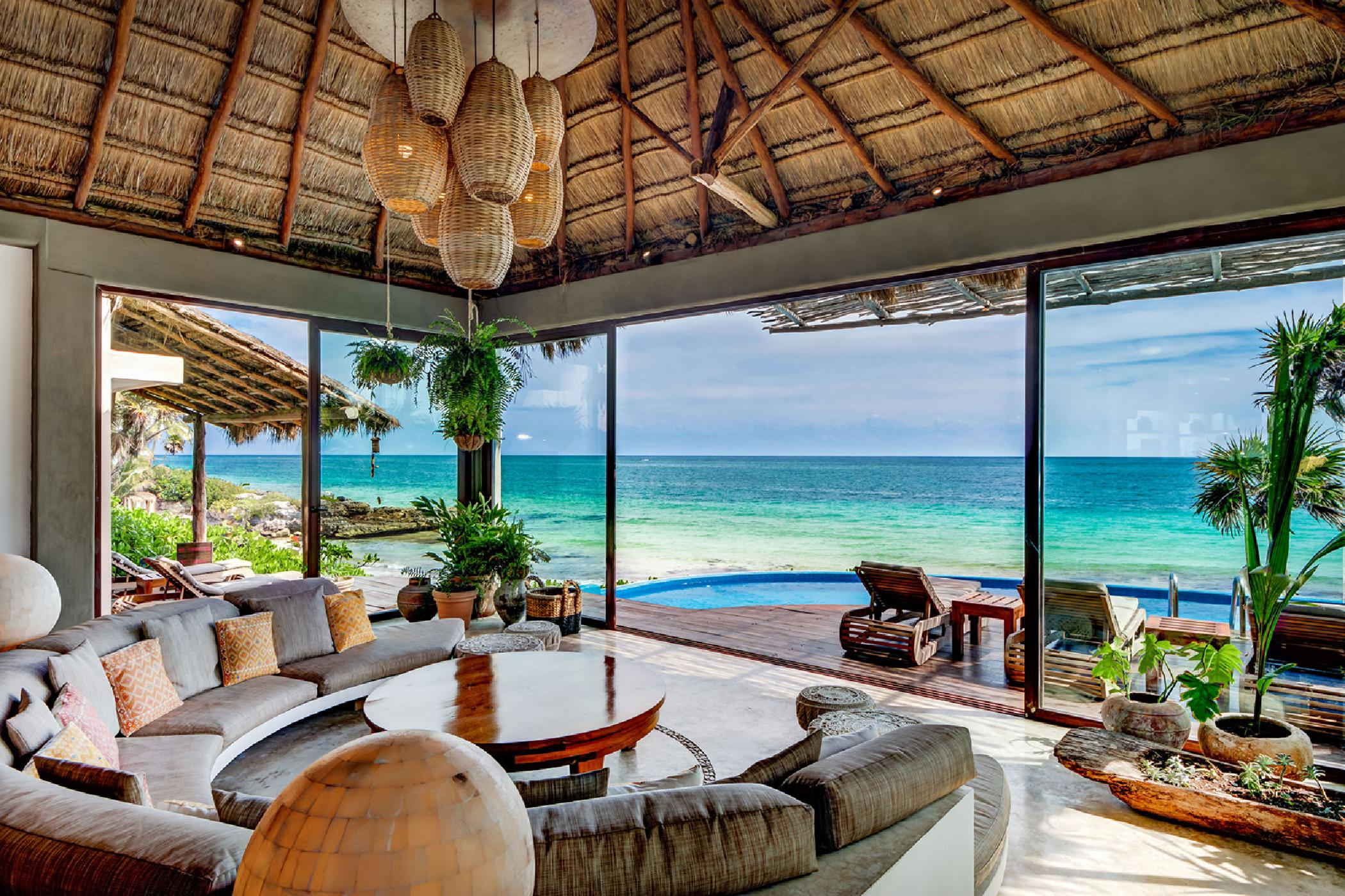 Spectacular oceanfront 5 BDR Tulum villa; infinity pool, amazing views, sun-drenched palapa, offshore reef
