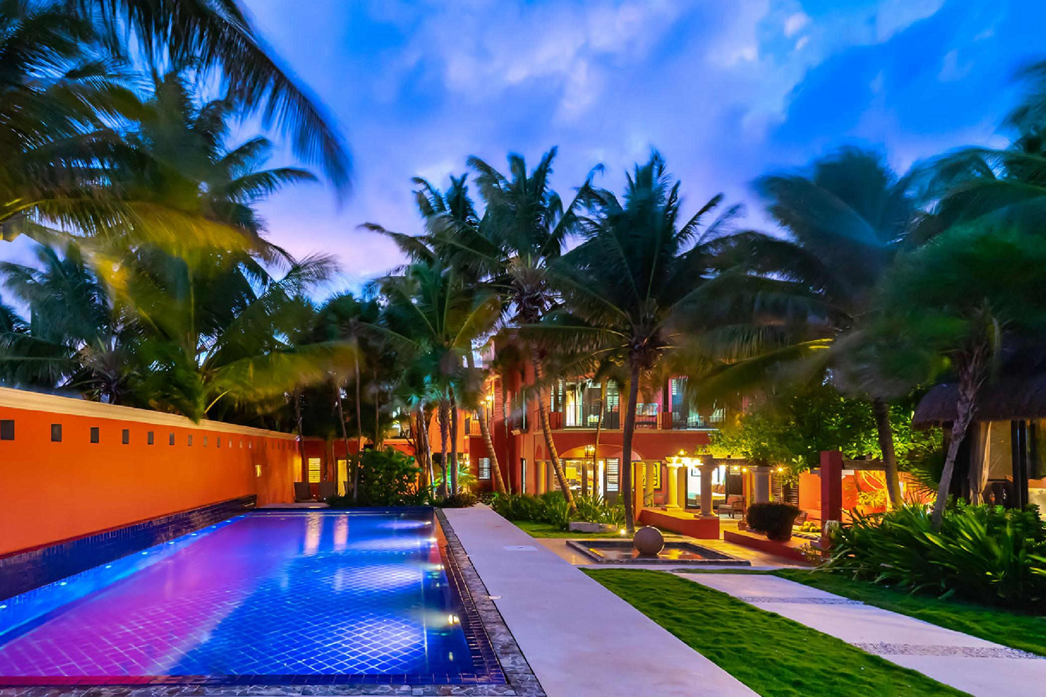 Lush, tropical Soliman Bay oceanfront 6 BDR estate; private beach, exquisite pool, indoor/outdoor living, high-end design