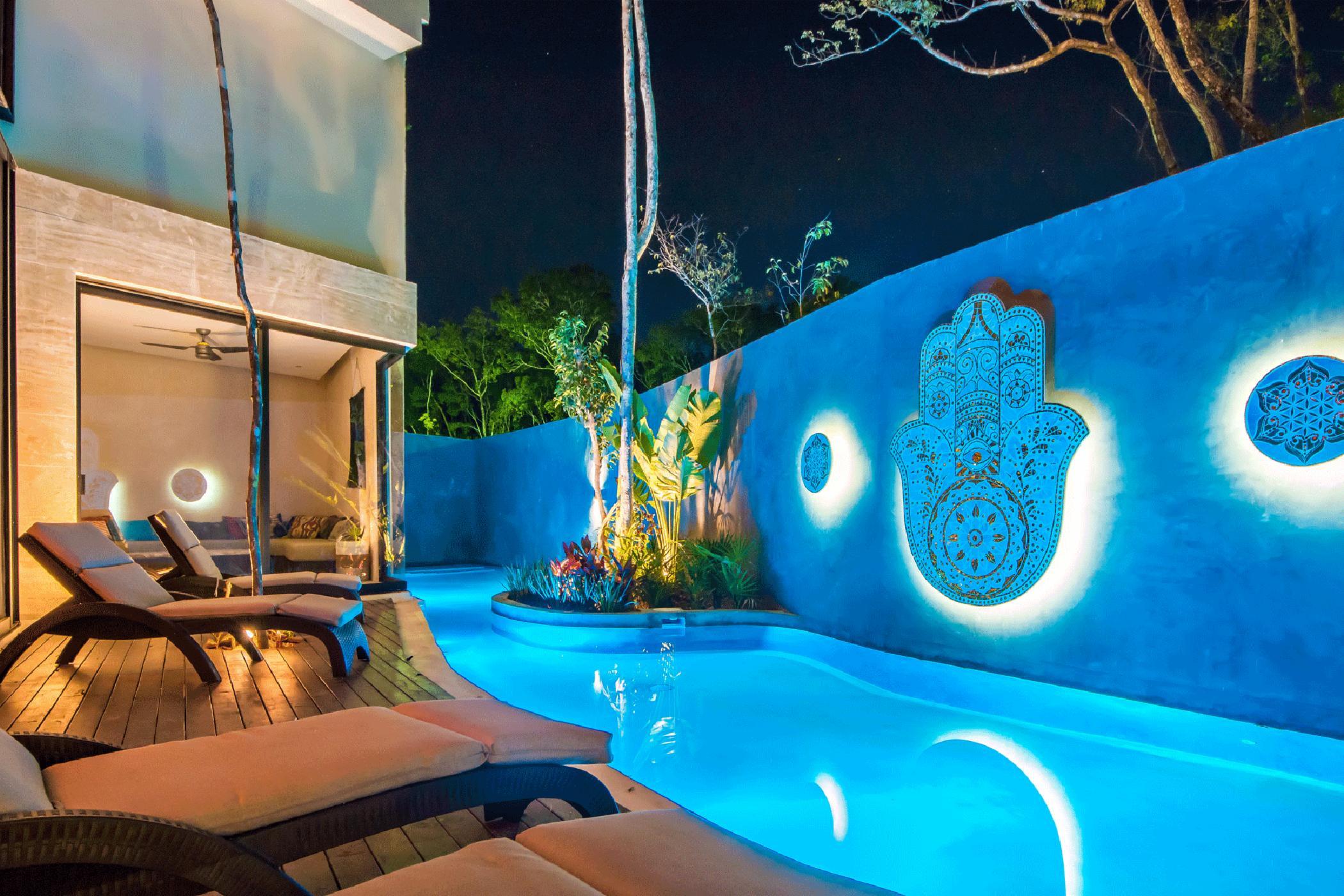 Luxury 6000+ sq.ft. 5 BDR Tulum villa; grand architecture, theatre room, private pools, indoor/outdoor Zen living